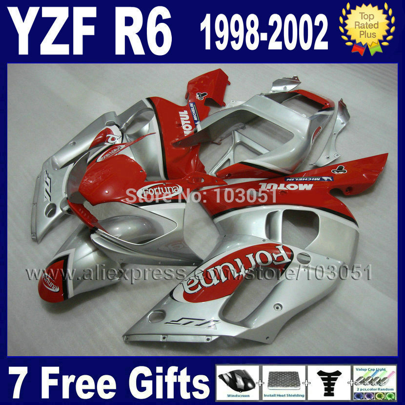 7 gifts motorcycle fairing kit for YAMAHA YZF R6 1998 1999 2001 2002 red silver  YZFR6 98 00 01 02 YZF600 Fairings repair parts
