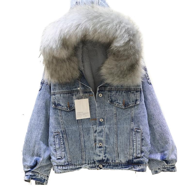 2018 winter jacket women Big Fur Hooded Denim   Parka   Lamb Fur Warm Thick Winter Jacket Hooded Loose women's winter Jeans jacket