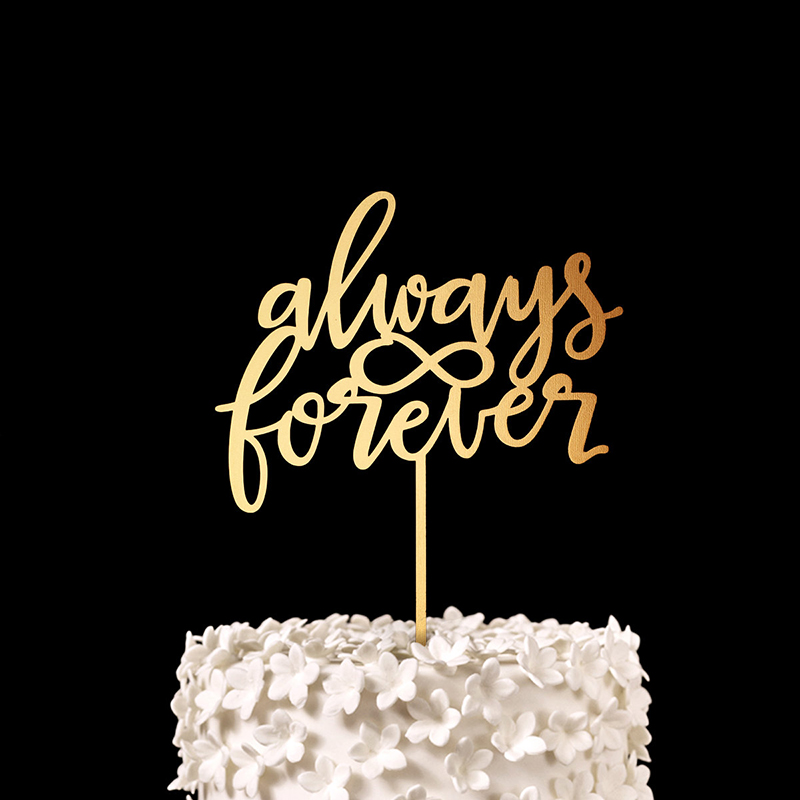 always forever wedding cake topper gold wood rustic bridal shower decor anniversary party favors decorations supplies in cake decorating supplies from home
