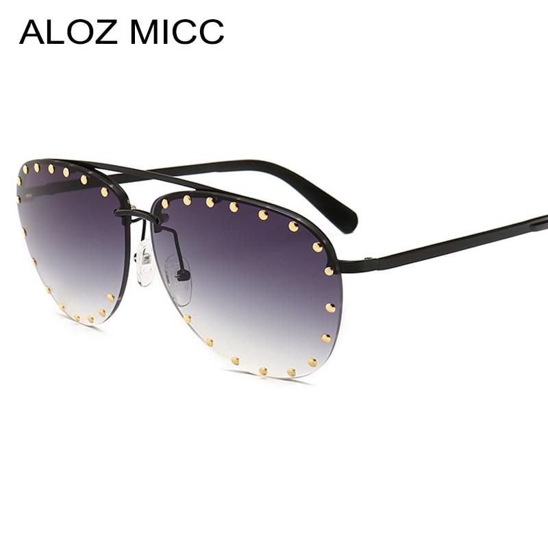 Responsible Aloz Micc Women Rimless Sunglasses 2019 Brand Designer Men Luxury Rivet Sun Glasses Women Ocean Lens Retro Metal Eyeglasses Q139 Women's Sunglasses