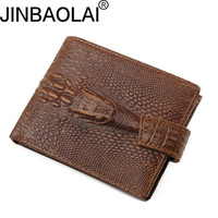 Crocodile Pattern Top Quality Men Short Wallet Genuine Leather Wallet For Male Cowboy Top Leather Thin