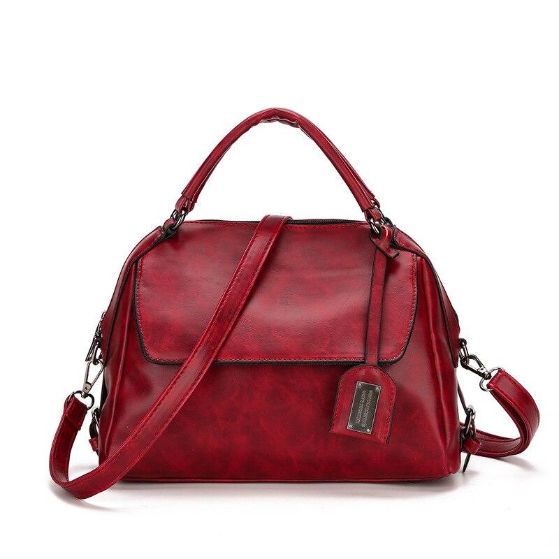 GDZHLBAG Arrive Womens Shoulder Travel Bag Oil Wax Leather women handbag Vintage Messenger Bag Boston Crossbody Bags Women B082