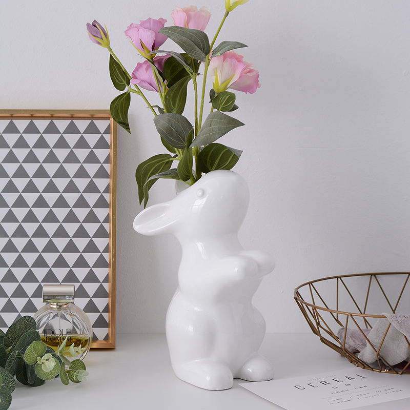Modern Scandinavian Simple Ceramic Vases Creative Rabbits White Flowers Vase Home Decoration Accessories for Baby