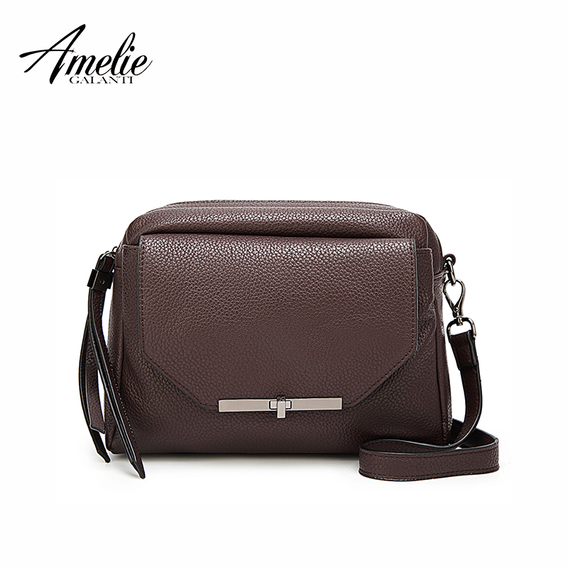 AMELIE GALANTI bags for women 2018 large capacity Small size Convenient and practical Shoulder Bags amelie galanti shoulder crossbody bags for women saddle purse embroidered bag with rivet long straps