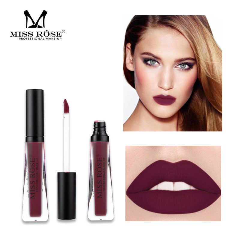 Miss Rose velvet matte lip gloss 12 colors waterproof long lasting dark brown liquid lipstick rose