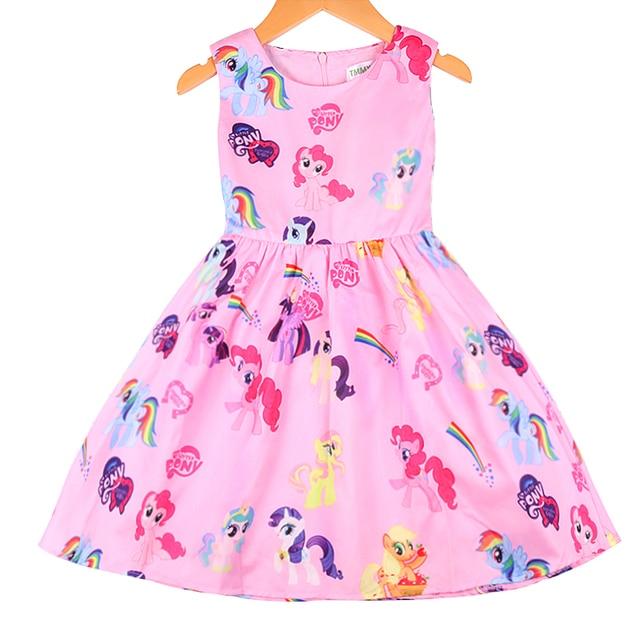 32de23352 Vestido estampado de dibujos animados en 3 D para niña vestidos de moda de  verano traje
