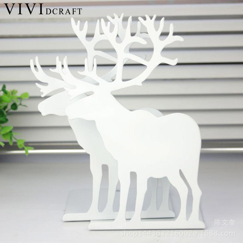 Vividcraft Kawaii Christmas Deer Reindeer Bookends Book Stand Paint Iron Student School and Office Stationery Book Holder цена
