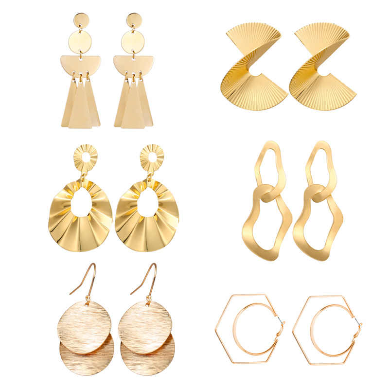Fashion Statement Earrings 2019 Gold Metal Round Geometric Earrings For Women Hanging Dangle Earrings Drop Earing Modern Jewelry
