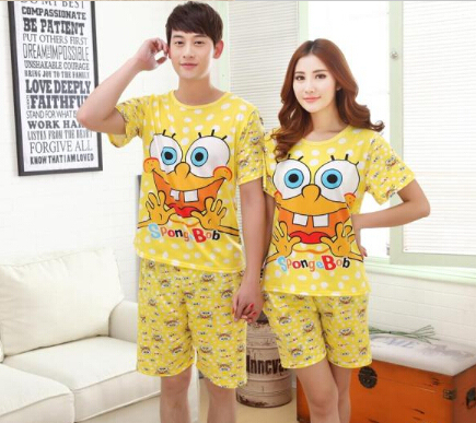 c54f70a4cc 2015 Summer SpongeBob Pajama sets Women men Sleepwear 2 piece Clothing set  lover Pajamas Top shirt+Shorts Homewear Nightclothes