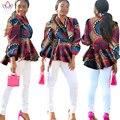 BRW Bazin Africano Impresión de la Cera de Algodón Blazer Dashiki Trech abrigo de Manga Larga Superior Más El Tamaño de la Ropa Africana para Las Mujeres ENVIOS WY1004
