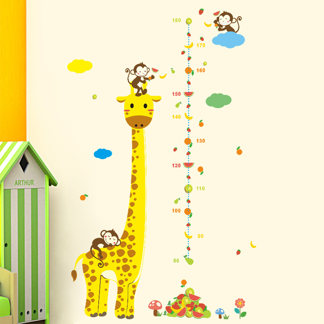 Giraffe Growth Chart Height Measure Wall Stickers Kids Room Decoration Diy Animals Monkey Home Decals Mural Art Children Gift