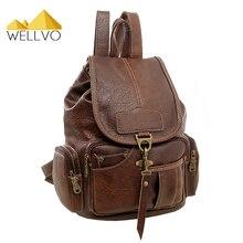 Wellvo Frauen Pu-leder Rucksack Mode Vintage Rucksäcke für Teenager Mädchen Reisetaschen Hochwertige Rucksack mochila XA1697C