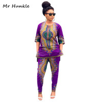2016 Dashiki Traditional African Clothing Two Piece Set Women Africaine Print Loose Tops Pants Summer Autumn