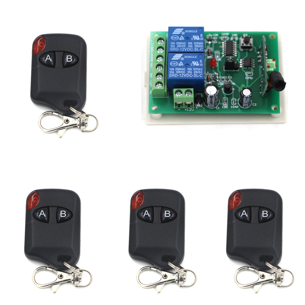 DC 12V 2CH Remote Control Switch System RF Remote Controller ON-OFF NO NC COM Relay Wireless Receiver Switch Learning Code yt04 12v 4 channel remote switch 4 button remote control w learning code off white white