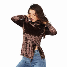 Fall and Winter Long Sleeve Blouse Warm Fleet Womens clothing