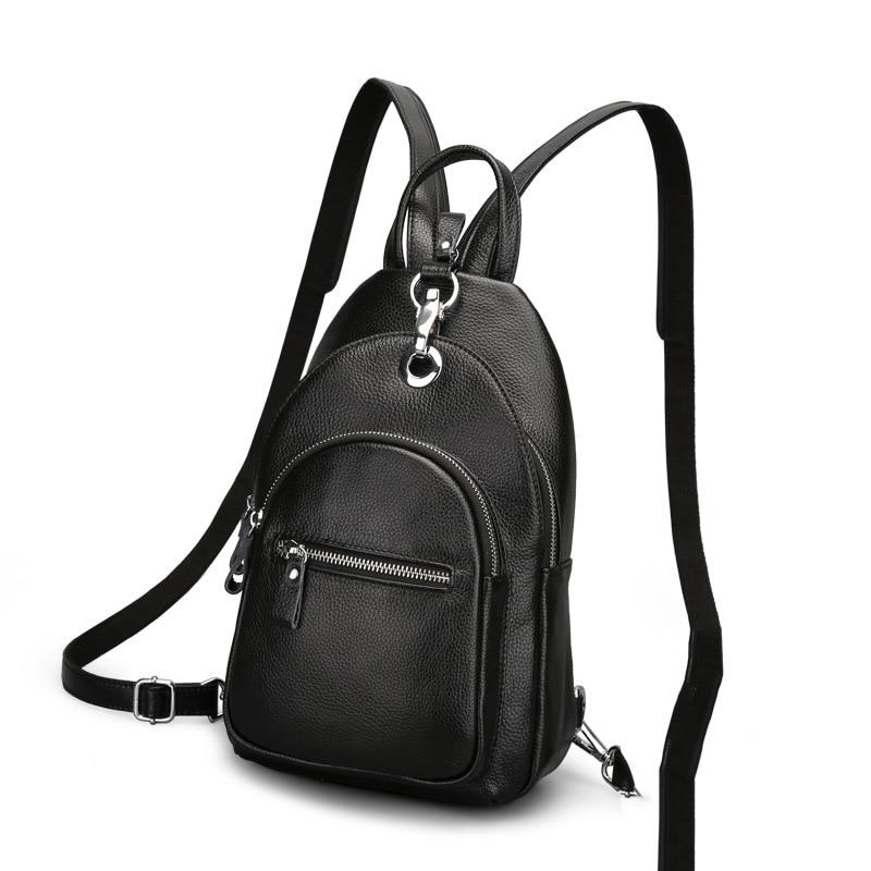 2019 Fashion Women Backpack Genuine Leather School Bags For Girl Chest Bag Female Designer Student Backpack