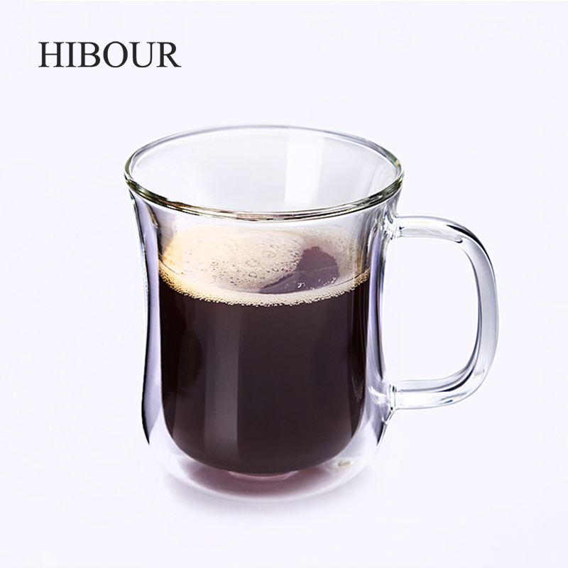 HIBOUR Double Wall Glass Cup Tea Coffee Cup Set with Handmade Heat-resistant Creative Mug Tea Mugs Transparent Drinkware 200ml