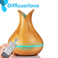 Diffuserlove 400Ml remote control Air Humidifier Essential Oil Diffuser Wood Grain 7 Color Changing LED Night Light for Home