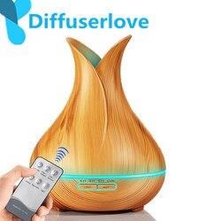 Diffuserlove 400Ml zdalnego sterowania powietrza olejek eteryczny do nawilżacza aroma dyfuzor aroma dyfuzor ziarna 7 zmiana koloru LED noc światło dla domu Nawilżacze powietrza AGD -