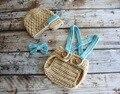 handmade Crochet Baby khaki newsboy hat,Bow tie with match overalls shorts baby Set Newborn Photo Prop NB-3M