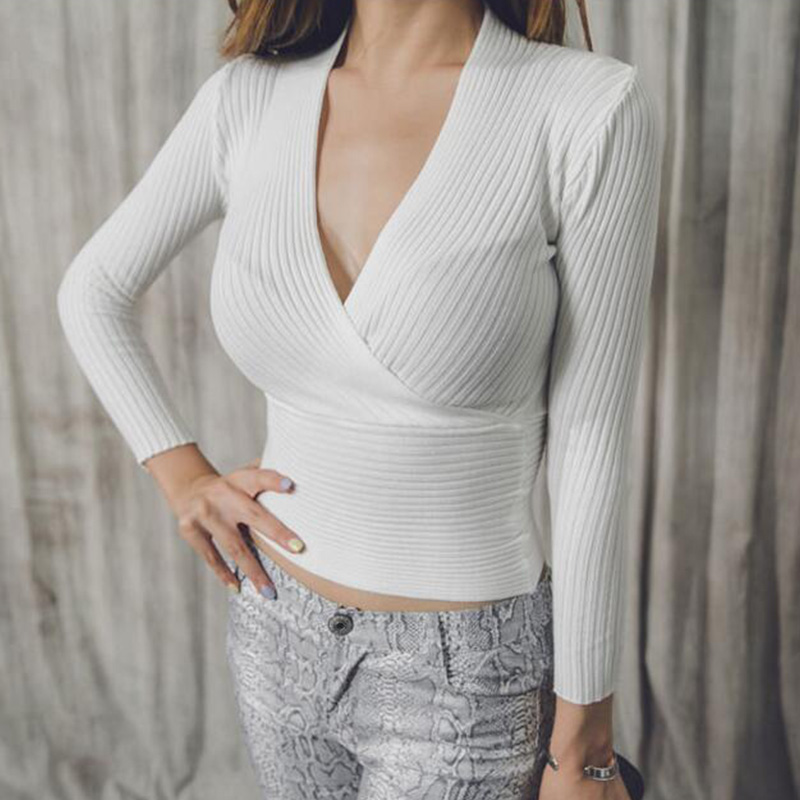 Sexy Knitted Sweater V Neck 2