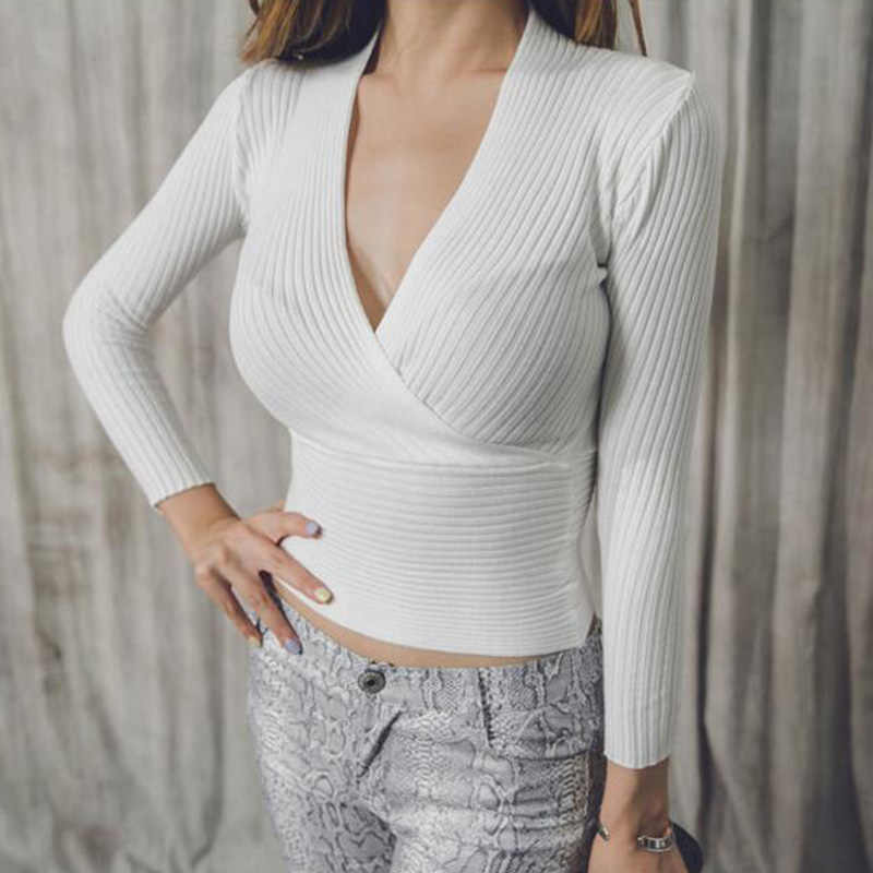 904e277596 ... Sexy Winter Knitted Sweater V Neck Cashmere Sweater Female 2018 Women  Sweaters And Pullovers Autumn Long ...