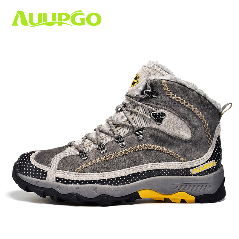 Waterproof Hiking Shoes For Men Warm Winter Hiking Boots Waterproof Snow Boots For Man Outdoor Hiking Shoes Female Zapatos yin qi shi man winter outdoor shoes hiking camping trip high top hiking boots cow leather durable female plush warm outdoor boot