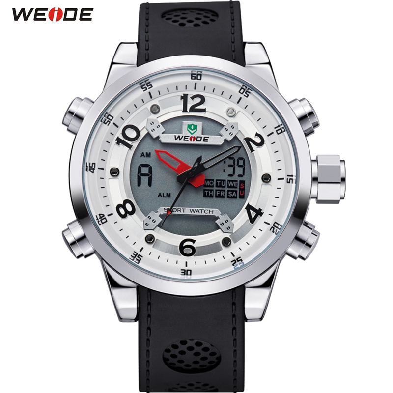 WEIDE Sport Watch Brand Dual Time Zone Men Quartz Digital Multimeter Waterproof Outdoor Military Dress Watches Men Wristwatch weide casual genuin brand watch men sport back light quartz digital alarm silicone waterproof wristwatch multiple time zone