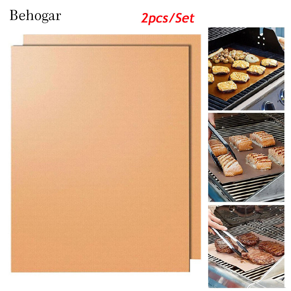 Behogar 2pc Copper Black Chef Bbq Grill Bake Nonstick