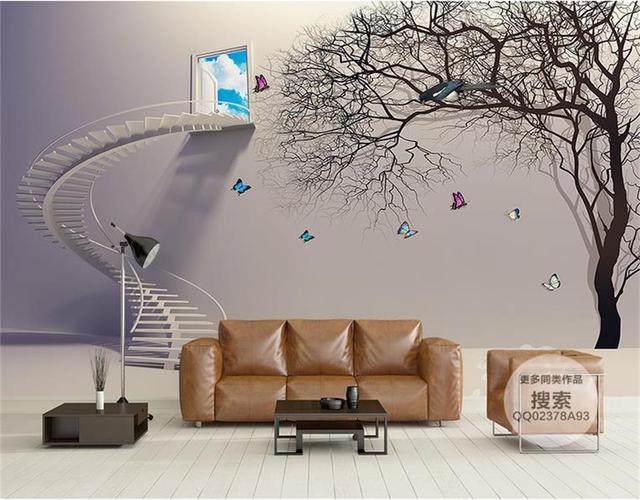 3d behang foto behang custom muurschildering woonkamer 3d trappen en ...