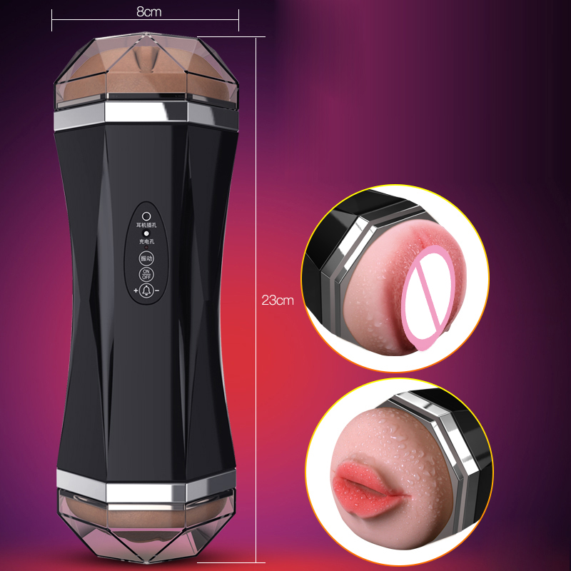 Sound Dual Hole Sucking Vagina Oral Folder Suction Penis Massage Orgasm Passion Cup Male Masturbator Adult Sex Toys for Men USB automatic sucking dual hole handfree men s masturbation cup simulation vagina oral aircraft cup sex male masturbator passion cup