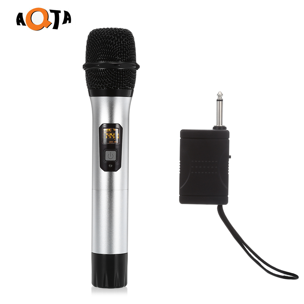 AQTA AT-301S UHF Wireless Microphone Handheld Mic with Receiver for Recording Karaoke Speech professional wireless microphone transmitter receiver with headset for karaoke lectures computer recording portable clip on mic