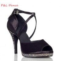 Customize Rhinestones Pinioning Black Professional Ruslana Korshunova Shoes Elevator Dance Shoes Wedding Shoes XC 6307