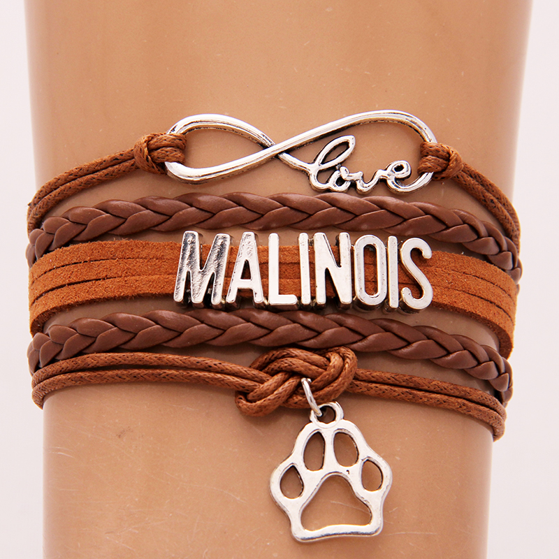 Drop Shipping Infinity Love Malinois <font><b>Bracelet</b></font> & Bangles Pink and Navy Leather Braided <font><b>Dog</b></font> <font><b>Paw</b></font> Charm <font><b>Bracelets</b></font> Christmas Jewelry image