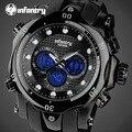Infantry hombres reloj de dial grande luminosa de alarma de cuarzo relojes hombre reloj cronógrafo silicona analógico digital reloj relogio masculino