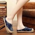 Белье вышитые тапочки старый Пекин Boho Хлопок холст ткань обувь национальная ручной тканые Круглый Носок плоские туфли размер 35-43