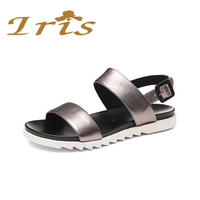 IRIS Genuine Leather Shoes Women Round Toe Sandals Comfortable Sandals Office Lady Women Shoes