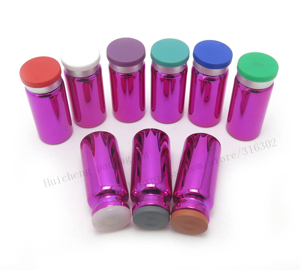 100 x New small 10 ml uv purple glass Bottles Jars Vials with Rubber Stopper Plastic-Aluminum Lids 1/3oz Cosmetic Container image