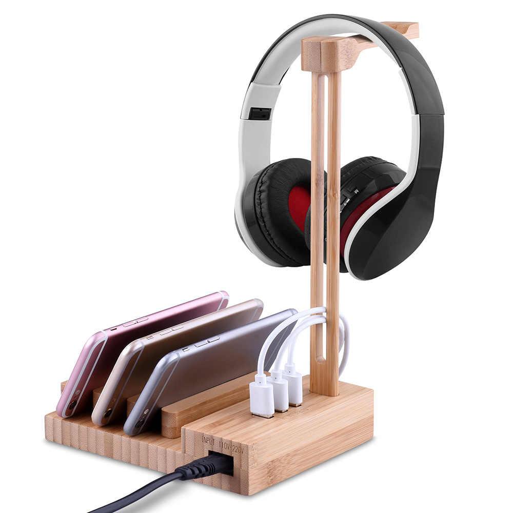 軽量木製ヘッドホンハンガーホルダースタンドと USB インタフェースユニバーサル充電イヤホン USB 5 V/3A 充電器 3 USB 3。