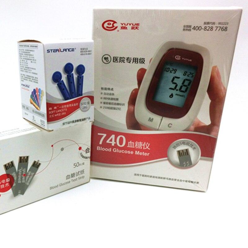 household health monitors blood glucose font b meter b font YUYUE 730 740 50pcs test strips