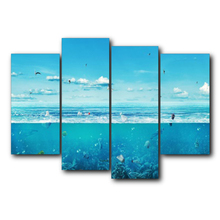 Laeacco Blue Sea World Animals Canvas Prints Painting Home Decoration Wall Art Paintings Pictures For Kids Room Bedroom No Frame