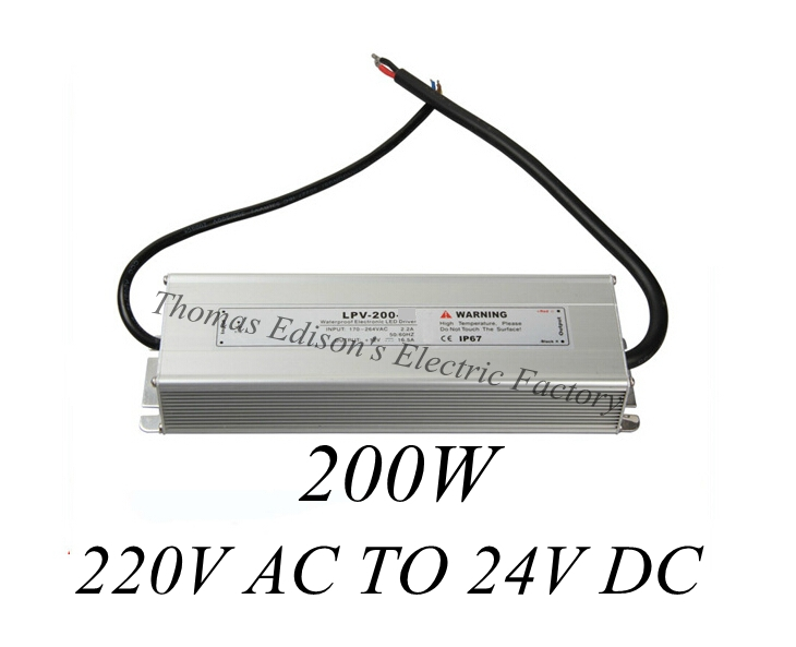 DIANQI waterproof power supply 220V AC TO 24V DC 200w power suply 200w 24V  LED Strip light ac to dc power supply meanwell 24v 60w ul certificated lpv series ip67 waterproof power supply 90 264v ac to 24v dc