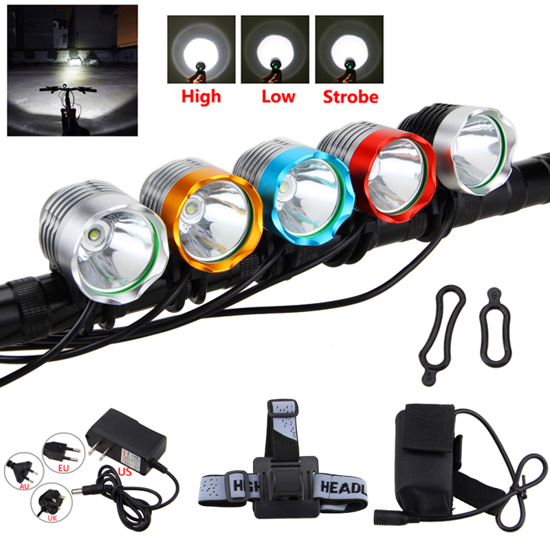 Vanntett 2500 Lumen XM-L T6 LED-lyskaster Hodelykt Sykkel Sykkelhode foran LED-lyssett + Batteri + Pannebånd