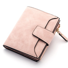 Candy Color Women Wallet Hasp Zipper Fold Wallets Bag Female Coin Purse PU Leather Lady Coin Pocket Card Holder Matte Retro