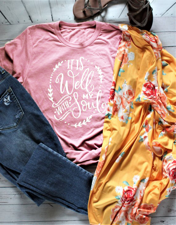 READY TO SHIP! Women's It Is Well With My Soul Short Sleeve Shirt