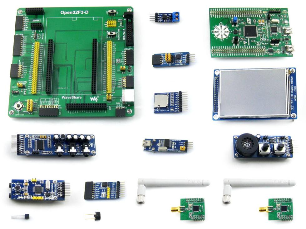 module STM32F3DISCOVERY and Mother Board Open32F3-D +15 Modules Kits STM32F303VCT6 STM32 ARM Cortex-M4 Development Kit