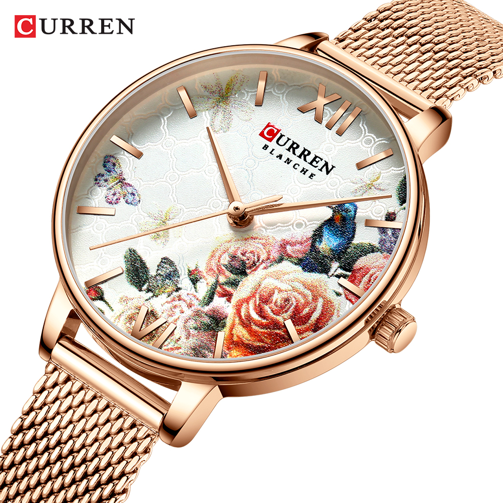 Ladies Watches CURREN New Fashion Design Women Watch Casual Elegant Woman Quartz Wristwatches With Stainless Steel Bracelet