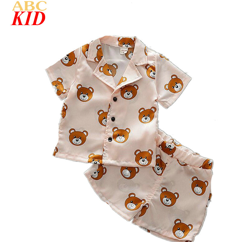 2017 Hot Sale Boy Girl Clothing Set Cartoon Bear Sleeping Clothes Kids Cute Pajamas Suits Navy Pink Home Clothes KT099