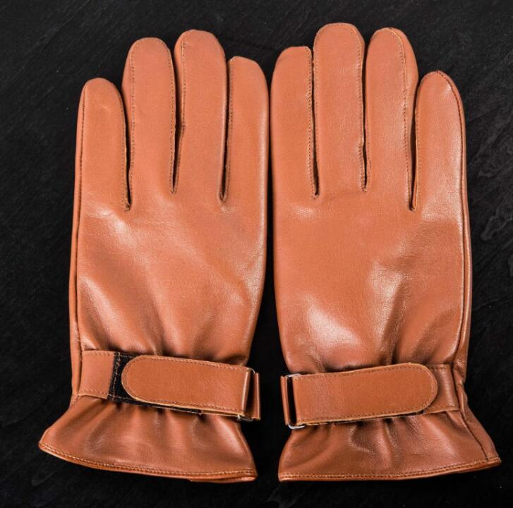 Men's Autumn Winter Natural Sheepskin Leather Gloves Male Genuine Leather Thicken Warm Motorcycle Driving Gloves R758