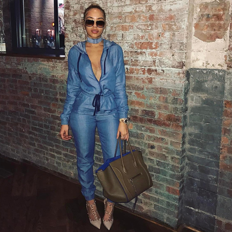 Hot Sale Loose Denim Jumpsuits Europe And The United States Women S Fashion Factory Spot0224